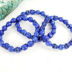 3/$20Just Like Candy Blue Stone Skull Bracelet